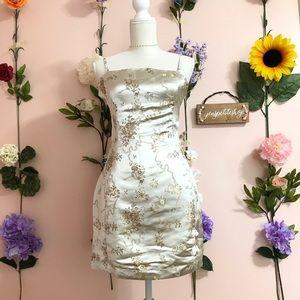Missguided silky cream brocade aline dress nwt